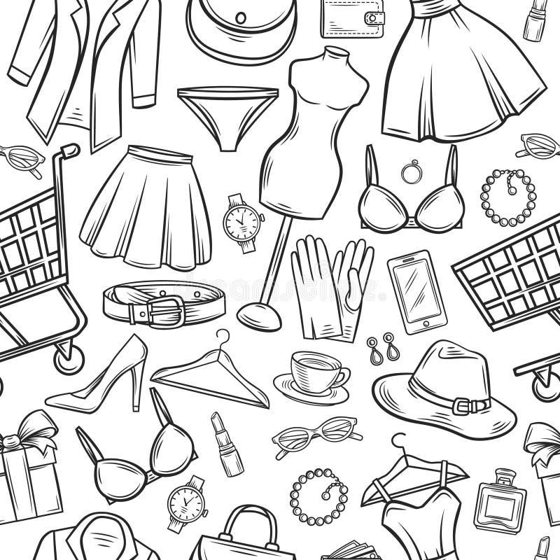 Naadloze patroon van de manier het online winkel vector illustratie
