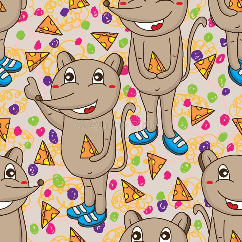 Naadloze patroon van de muis het leuke kaas vector illustratie