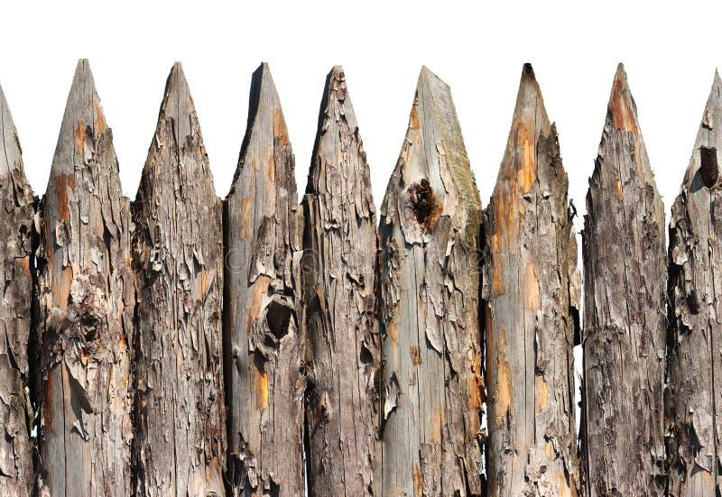 Naadloze patroon van de palissade het houten omheining dat op witte achtergrond wordt geïsoleerd stock foto's
