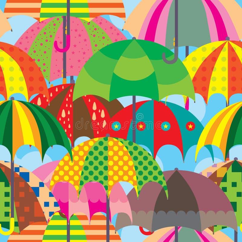 Naadloze Patroon van de paraplu het Volledige Pagina vector illustratie
