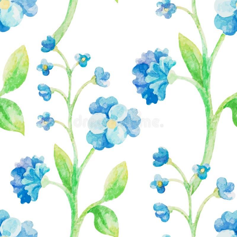 Naadloze patroon van de waterverf het blauwe bloem royalty-vrije illustratie