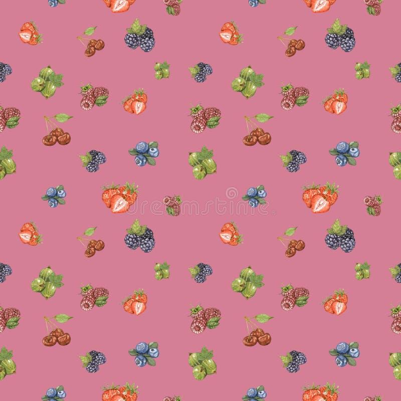 Naadloze patroon van de waterverf het hand getrokken bes op roze achtergrond stock illustratie