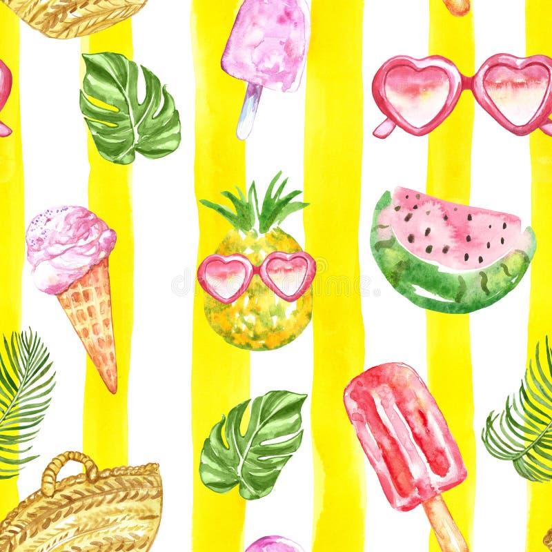 Naadloze patroon van de waterverf het leuke zomer De hand schilderde exotische ananasvruchten en bessenijslolly, hart gevormde zo stock foto
