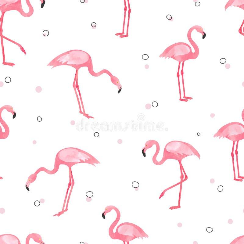 Naadloze patroon van de waterverf het roze Flamingo stock illustratie
