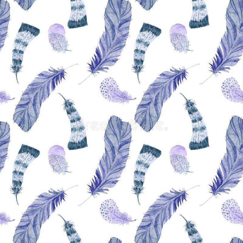 Naadloze patroon van de waterverf het violette veer vector illustratie