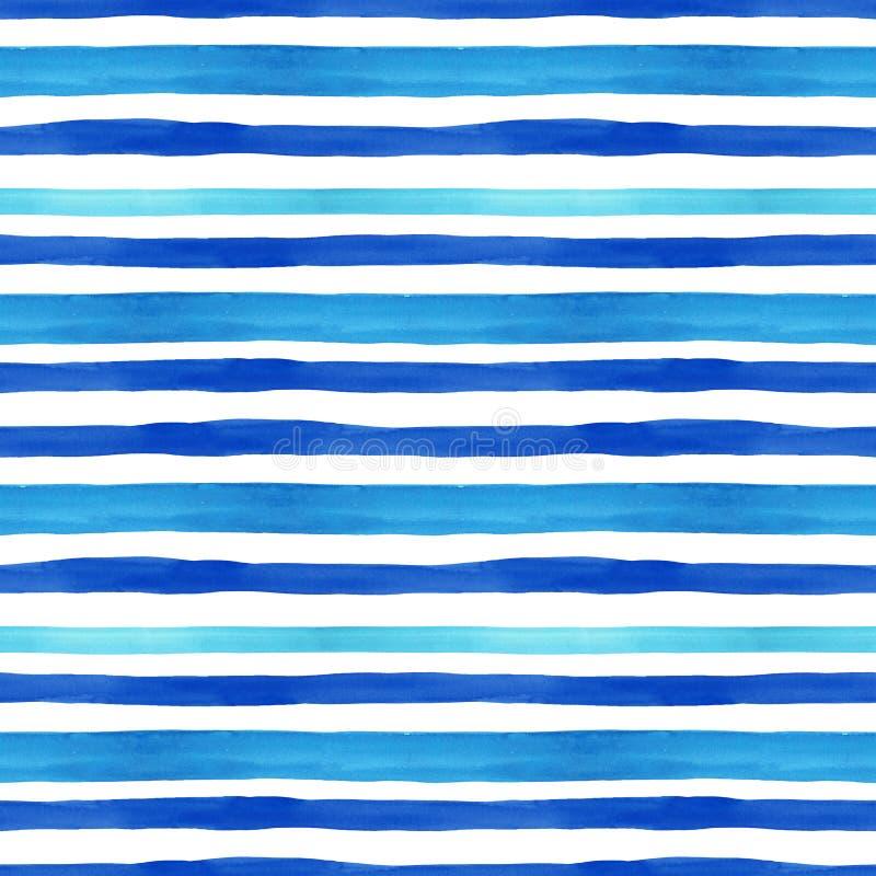 Naadloze patroon van de zomer het mariene stijl met waterverf blauwe horizontale strepen op witte achtergrond De zomerhand getrok vector illustratie