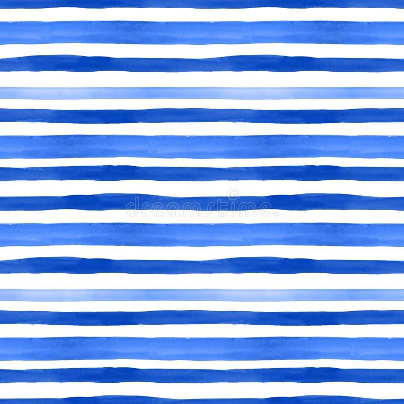 Naadloze patroon van de zomer het mariene stijl met waterverf blauwe horizontale strepen op witte achtergrond De zomerhand getrok royalty-vrije illustratie