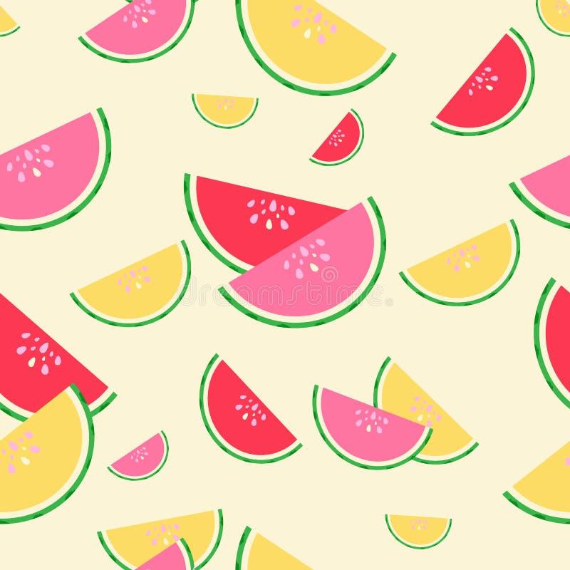 Naadloze patroon van de zomer het rode, roze en gele watermeloenen stock illustratie