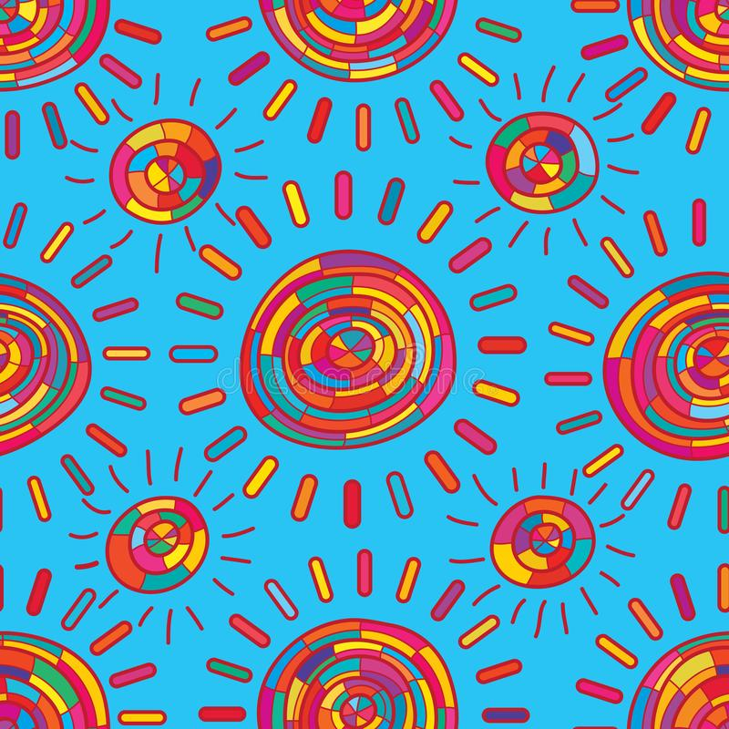 Naadloze patroon van de zon het kleurrijke stammenstijl stock illustratie