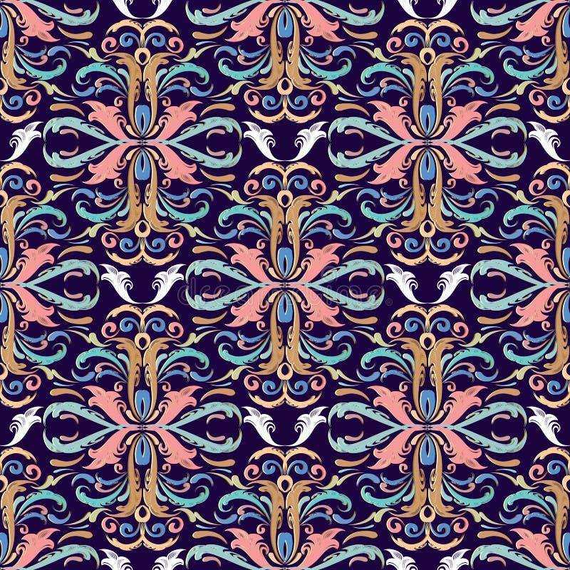 Naadloze patroon van het Beautful het Barokke damast Vector bloemenbackgrou stock illustratie