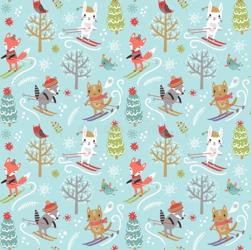 Naadloze patroon van het Kerstmis het nieuwe jaar stock illustratie