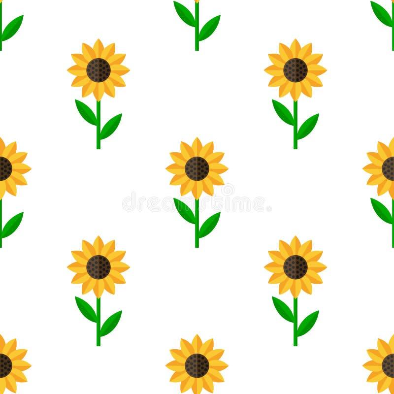Naadloze Patroon van het zonnebloem het Vlakke Pictogram vector illustratie
