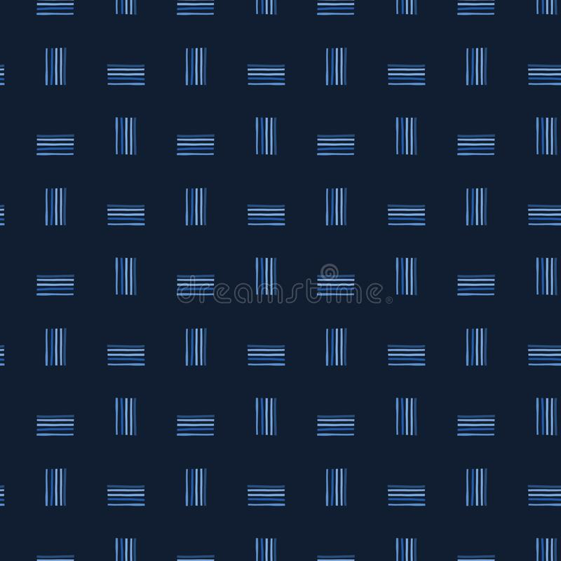 Naadloze patroon van indigo het blauwe grafische abstracte lijnen Moderne geometrische streep vectorillustratie vector illustratie