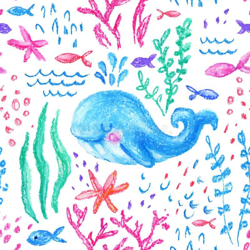 Naadloze patroon van kleurpotlood het kinderlijke Marin vector illustratie