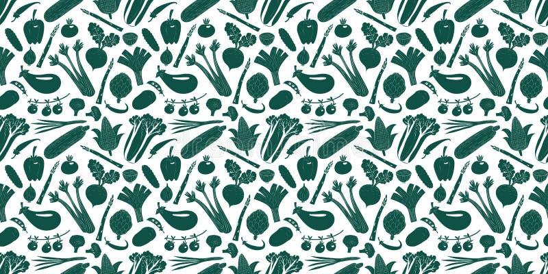 Naadloze patroon van pret het hand getrokken groenten Één grafische kleur De achtergrond van groenten Linocutstijl Gezond voedsel vector illustratie