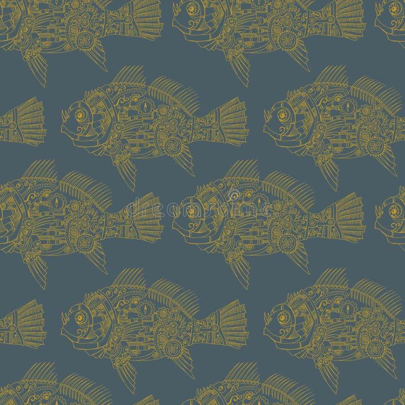 Naadloze patroon van Steampunk het mechanische vissen graphit stock illustratie