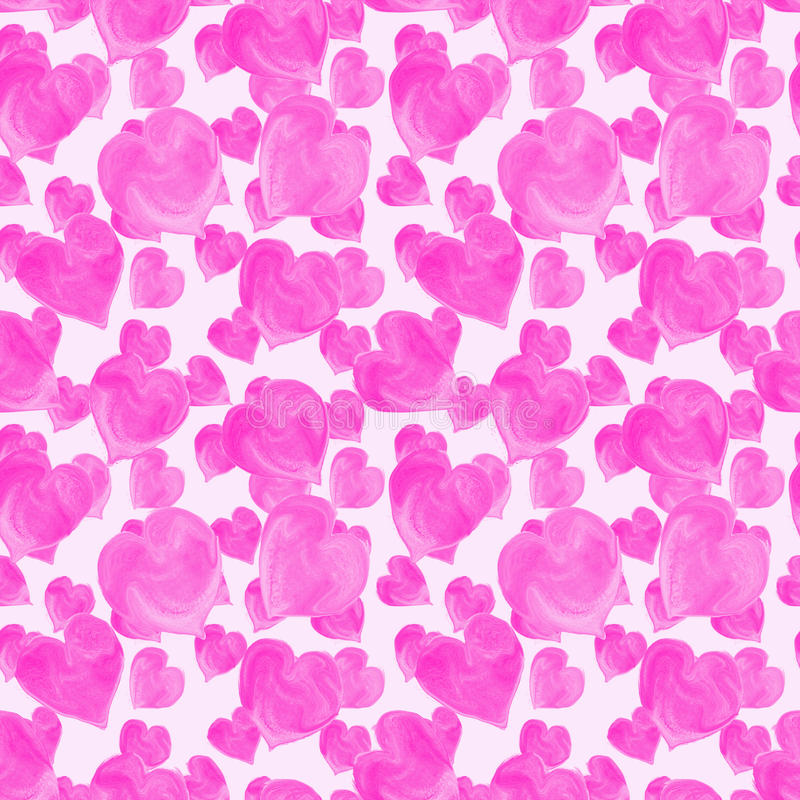 Naadloze patroon van waterverf het roze harten royalty-vrije stock fotografie