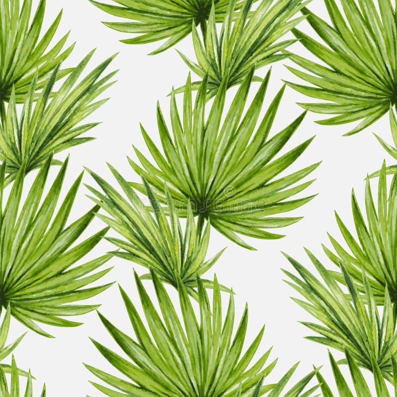 Naadloze patroon van waterverf het tropische palmbladen royalty-vrije illustratie