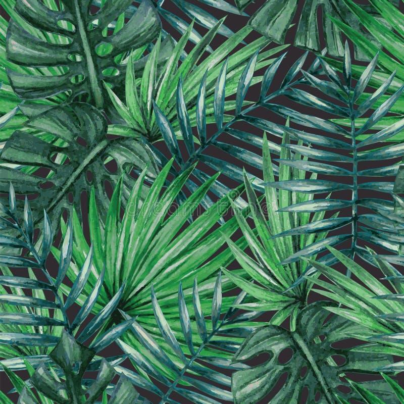 Naadloze patroon van waterverf het tropische palmbladen stock illustratie