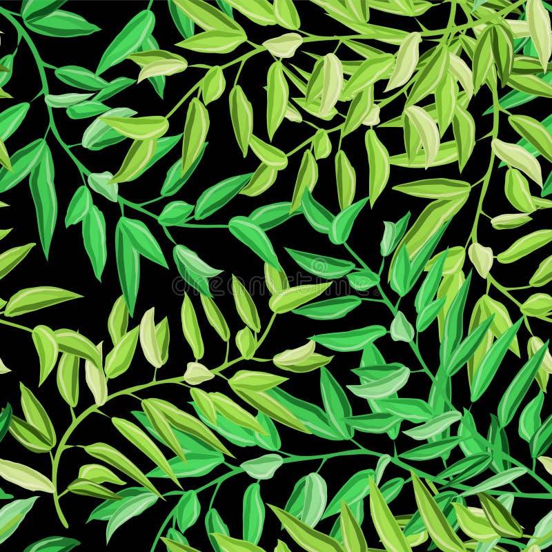 Naadloze patroon van waterverf het tropische palmbladen Vector illustratie royalty-vrije illustratie