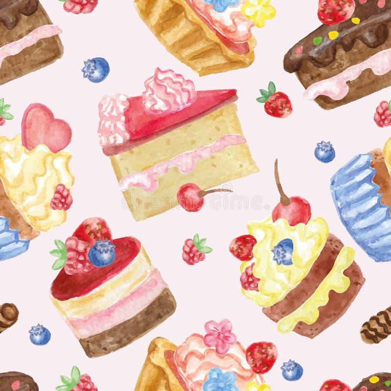 Naadloze patroon van waterverf het zoete cakes met bessen royalty-vrije illustratie