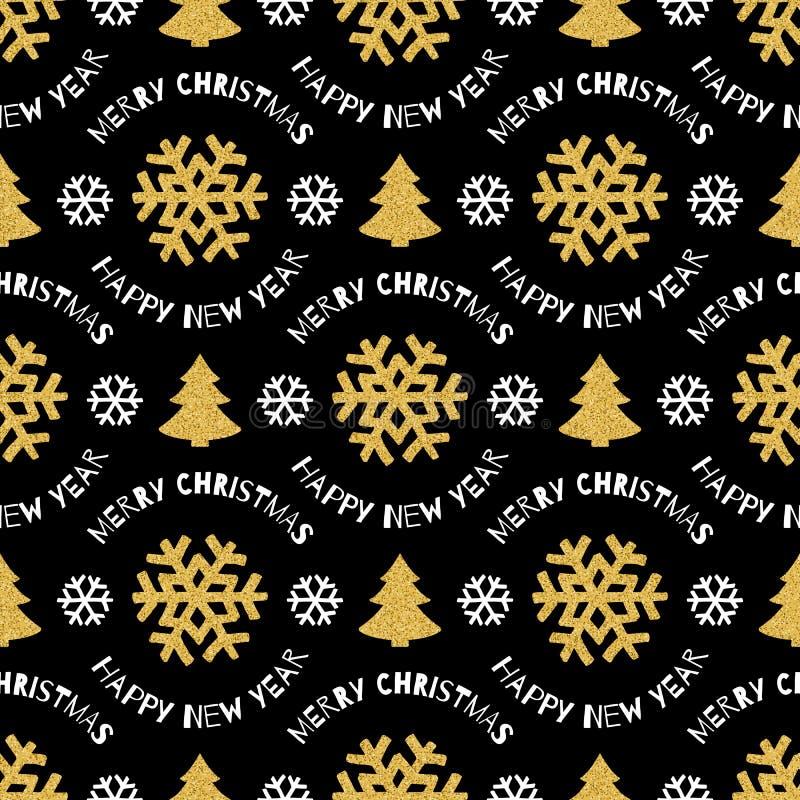 Naadloze patroon Vrolijke Kerstmis en Gelukkig Nieuwjaar, Zwarte achtergrond royalty-vrije illustratie