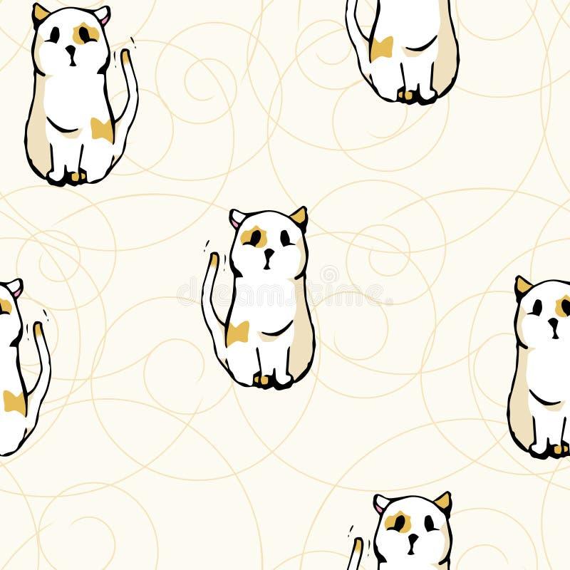 Naadloze patroon witte katten royalty-vrije illustratie