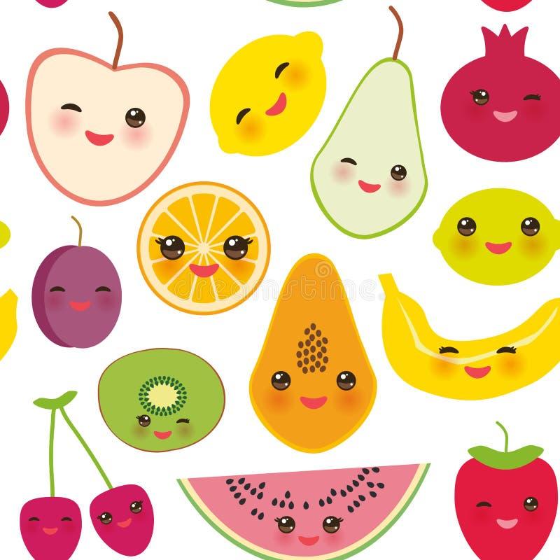 Naadloze patroonaardbei, sinaasappel, banaankers, kalk, citroen, kiwi, pruimen, appelen, watermeloen, granaatappel, papaja, peer, vector illustratie