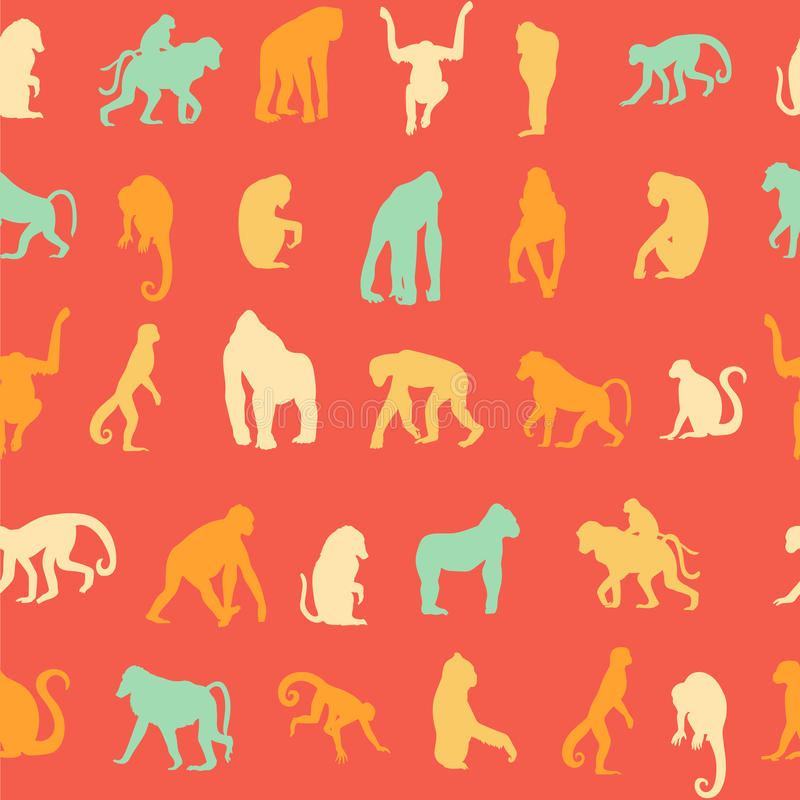 Naadloze patroonachtergrond met apen royalty-vrije illustratie