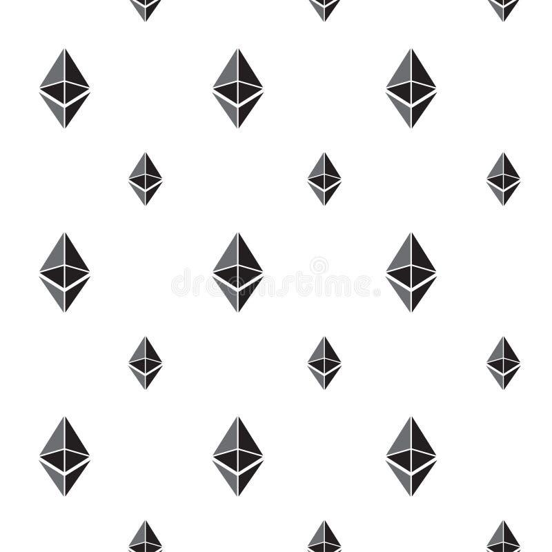 Naadloze patroonachtergrond met ethereumtekens stock illustratie