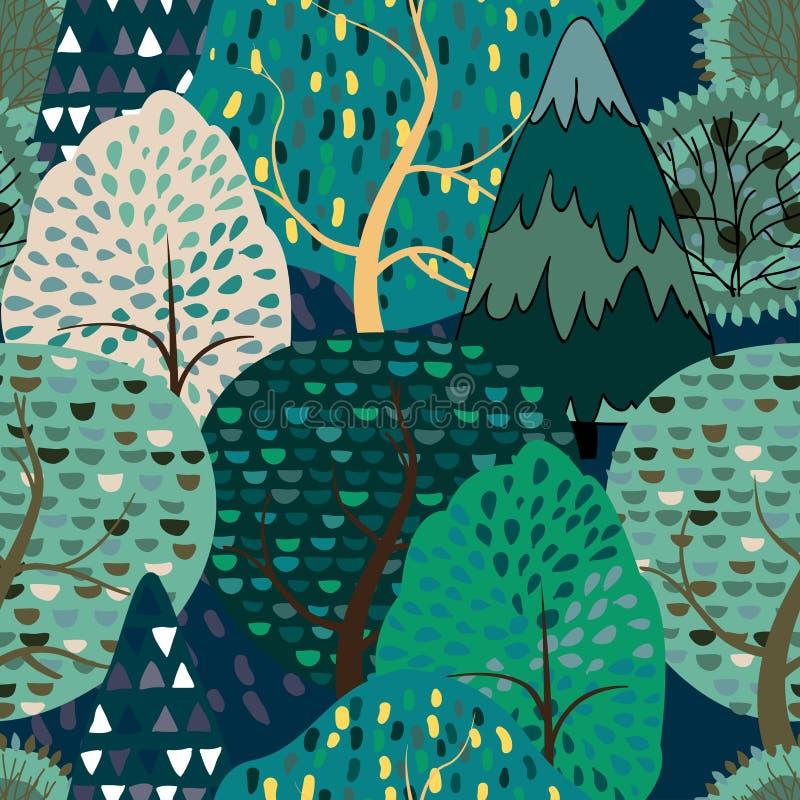 Naadloze patroonachtergrond met gestileerde de zomerbomen royalty-vrije illustratie