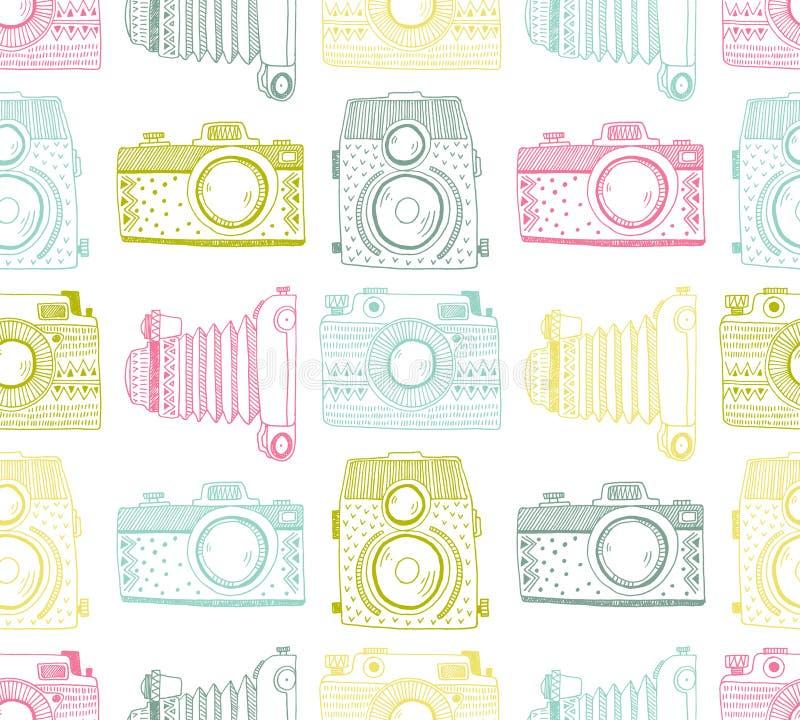 Naadloze patroonachtergrond met hand getrokken sier retro camera's vector illustratie