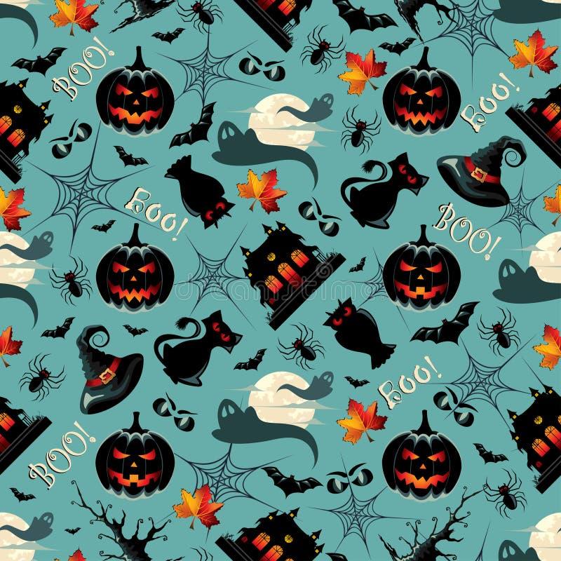 Naadloze Patroonachtergrond met vele Halloween-Symbolen vector illustratie