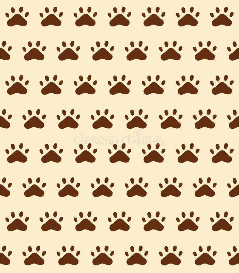 Naadloze patroonachtergrond van het spoor van het kattenspoor, vector illustr stock illustratie
