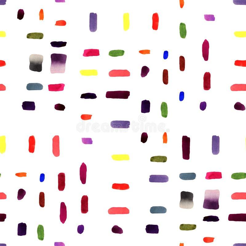 Naadloze patroonachtergrond - waterverfhand getrokken penseelstreken op de witte achtergrond royalty-vrije stock foto