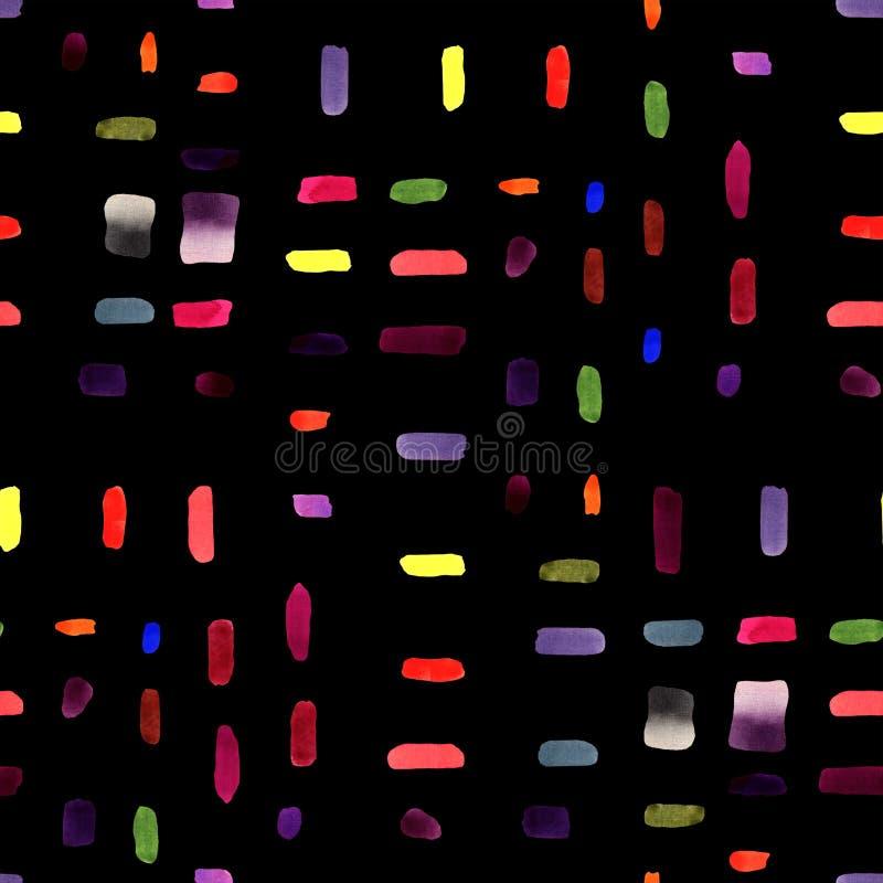 Naadloze patroonachtergrond - waterverfhand getrokken penseelstreken op de zwarte achtergrond royalty-vrije illustratie