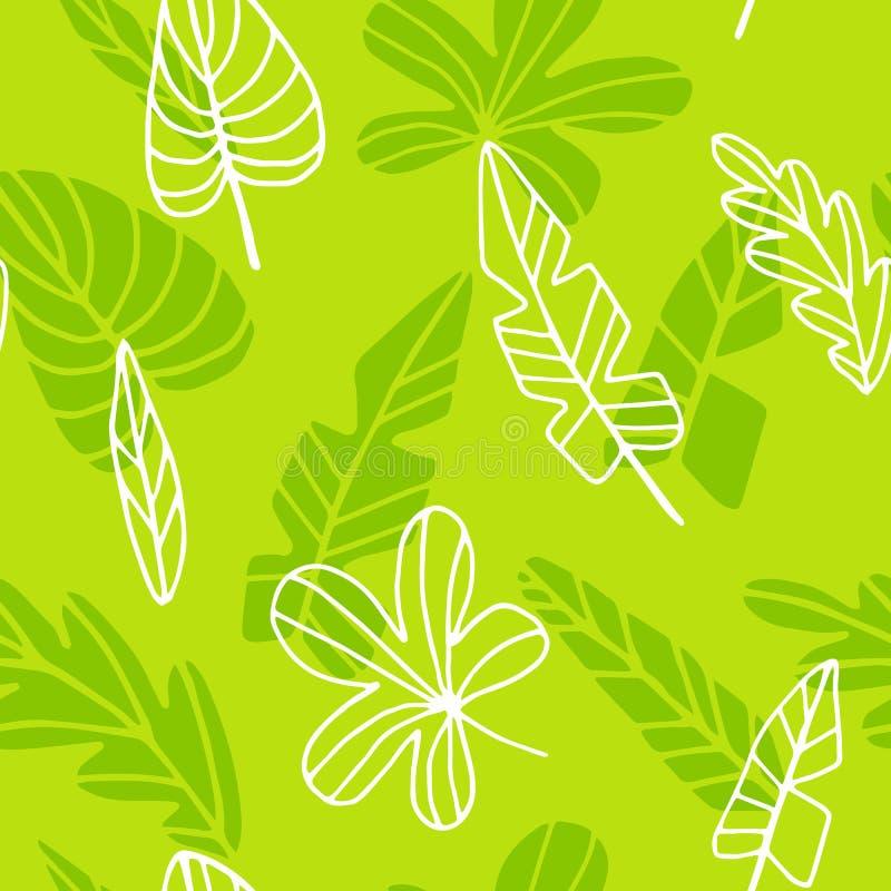 Naadloze patroonbladeren van palm vector illustratie