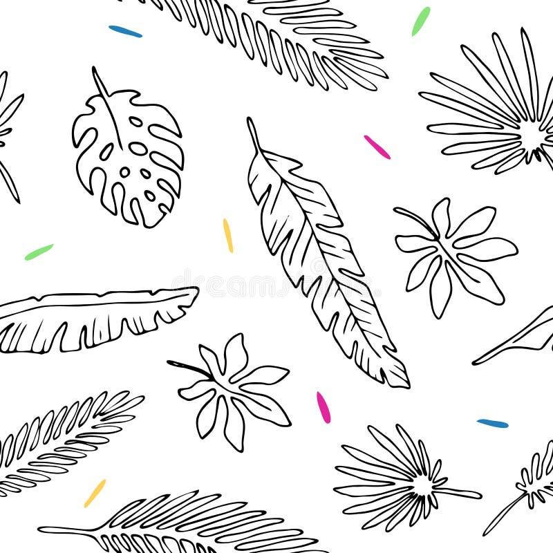 Naadloze patroonbladeren van palm royalty-vrije illustratie