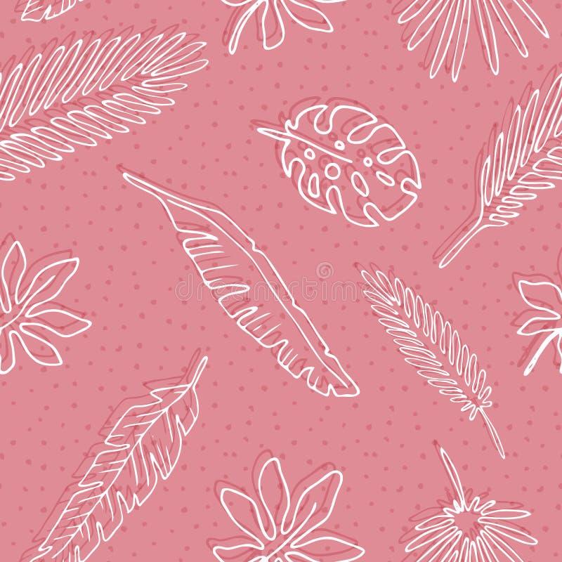 Naadloze patroonbladeren van palm stock illustratie