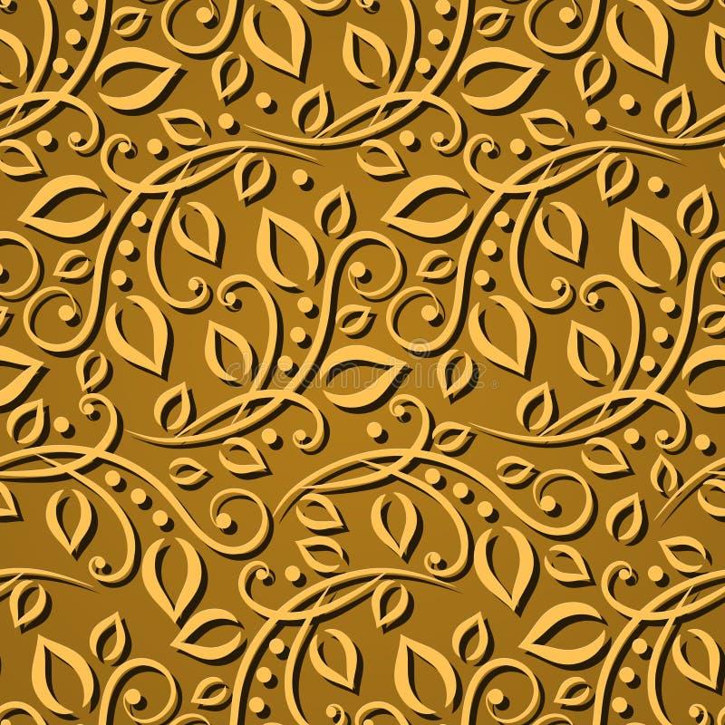 Naadloze patroonbladgouden De elegante textuur voor behang, de achtergronden en de pagina vullen 3D elementen met schaduwen en ho stock illustratie