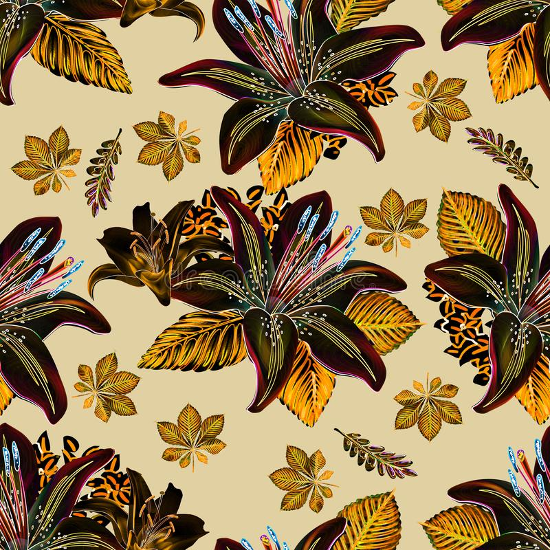 Naadloze patroonbloem met bladerenneon gekleurd ontwerp stock illustratie