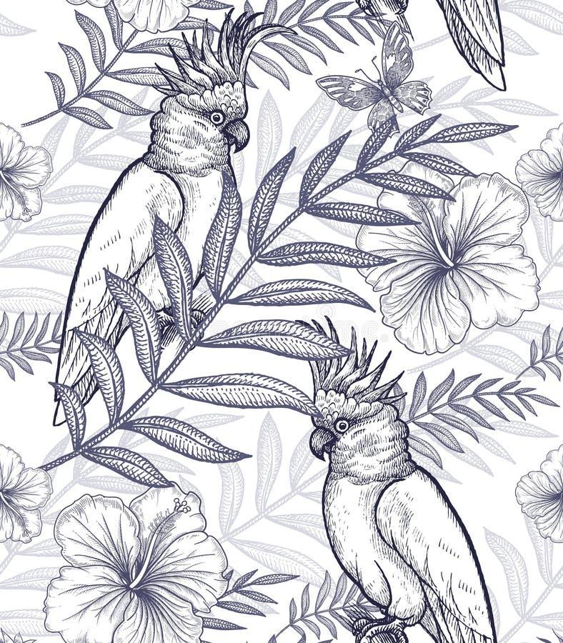Naadloze patroonbloemen en papegaaien royalty-vrije illustratie