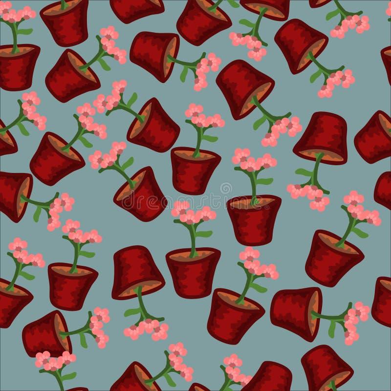 Naadloze patroonbloemen in potten stock foto's