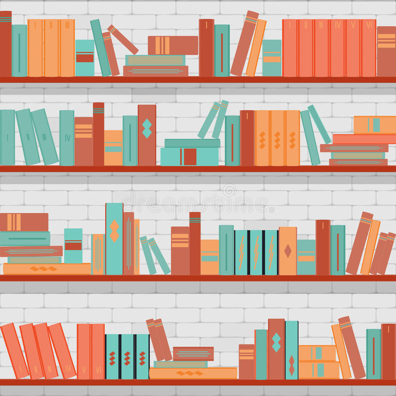 Naadloze patroonboekenrekken, boeken op de bakstenen muurachtergrond royalty-vrije illustratie