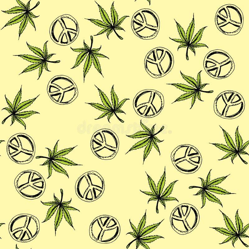 Naadloze patrooncannabis en de Stille Oceaan een symbool van de hippie vector illustratie