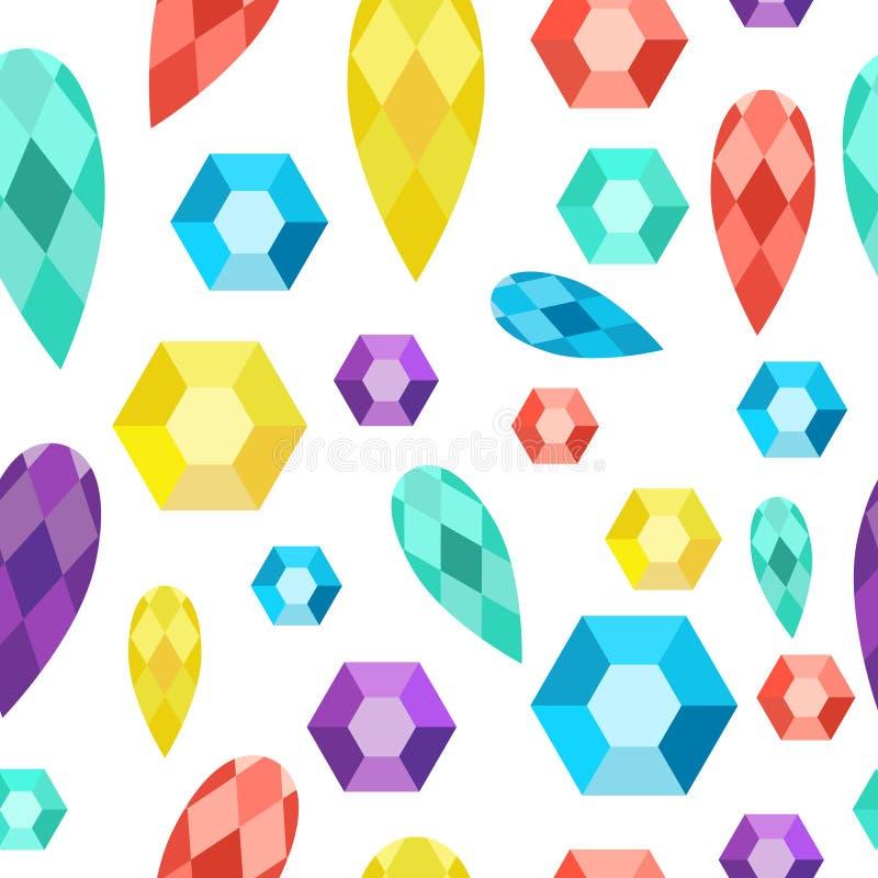 Naadloze patroonedelstenen, gemmen, diamanten, kristallen stock illustratie