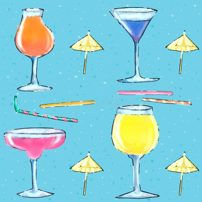 Naadloze patroonglazen met cocktail vector illustratie