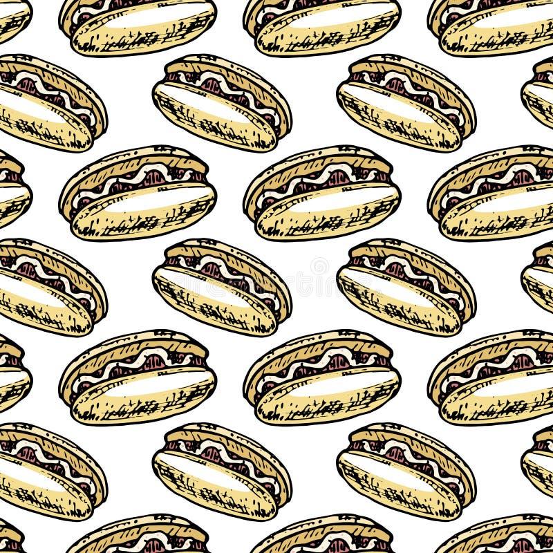 Naadloze patroonhand getrokken kleurrijke Hotdog Krabbel zwarte schets tekensymbool Genomen in Genua, Italië Geïsoleerdj op witte stock illustratie