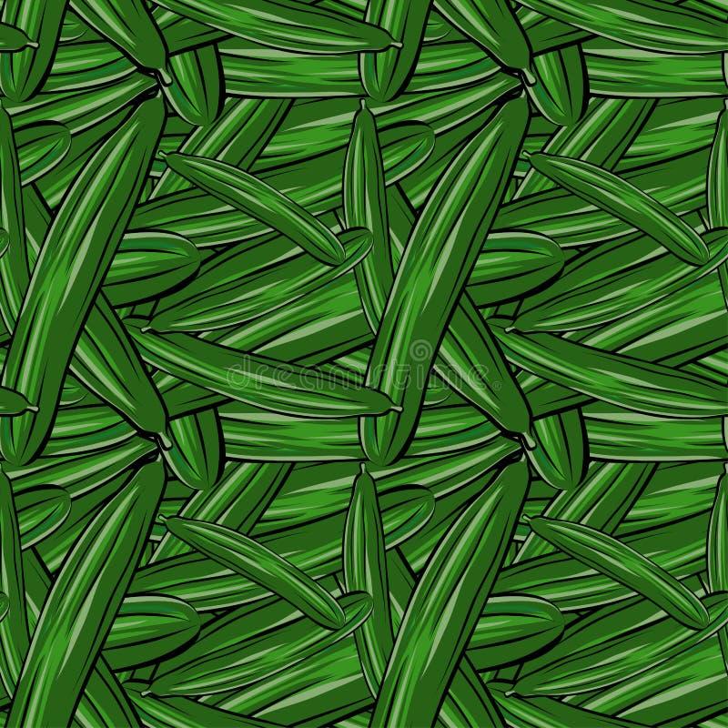 Naadloze patroonhand getrokken komkommer royalty-vrije illustratie