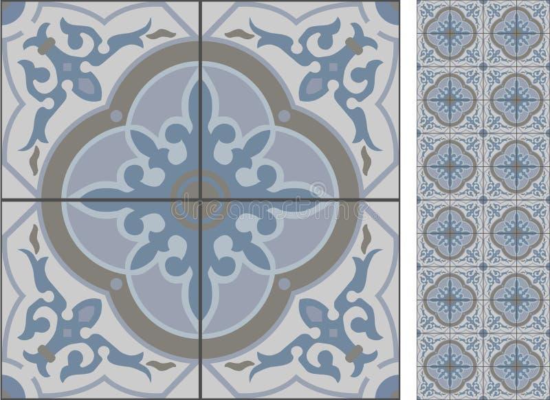 Naadloze patroonillustratie in in traditionele stijl als Portugese tegels stock illustratie